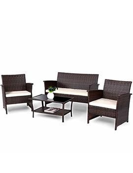 Costway Vd 57026 Hw 4 Pcs Wicker Furniture Set, Brown by Costway