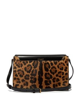 Catherine Leopard Print Leather Cross Body Bag by Saint Laurent