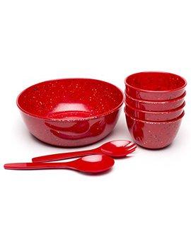 Zak Designs 0078 4290 Confetti Serving Sets, Salad Bowl, Red 7pc by Zak Designs