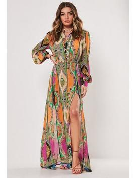 Under Wraps Pink Paisley Print Chiffon Maxi Dress by Missguided