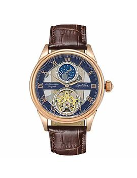 Men's Mechanical Watch Automatic Skeleton Dial Moon Phase Waterproof Analogue Self Wind Wrist Watch With Classic Brown Leather Band by Spotalen