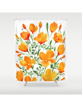 Watercolor California Poppies Shower Curtain by Society6