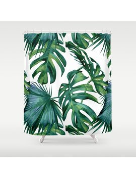 Classic Palm Leaves Tropical Jungle Green Shower Curtain by Society6