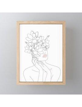 Minimal Line Art Woman With Magnolia Framed Mini Art Print by Society6