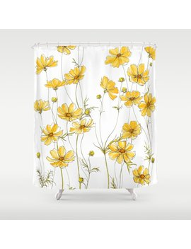 Yellow Cosmos Flowers Shower Curtain by Society6
