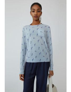 Patterned Sweater Pale Blue Melange by Acne Studios