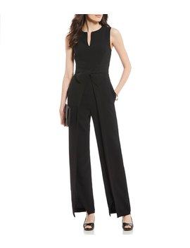 barbara-v-neck-crossover-waist-slit-front-leg-jumpsuit by alex-marie