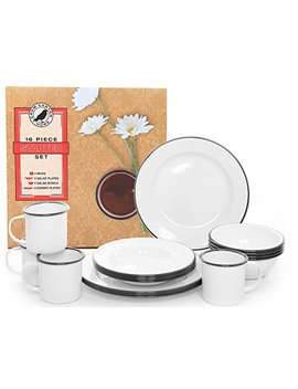 Crow Canyon Home Enamelware Starter Set, 16 Pc, Vintage White With Black Rim by Crow Canyon Home