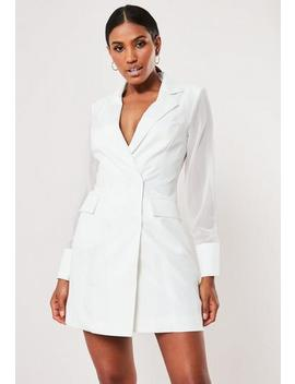 White Mesh Sleeve Blazer Dress by Missguided