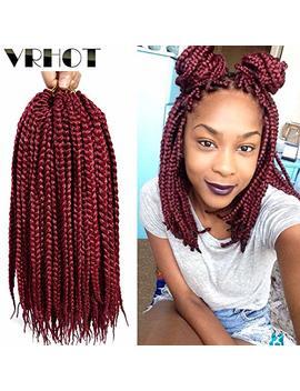 Vrhot 6 Packs 12 Inch Box Braids Crochet Hair Pre Looped Synthetic Hair Extensions Dreadlocks Burgundy Crochet Braids Kanekalon Braiding Hair Small 3 S Braid... by Vrhot