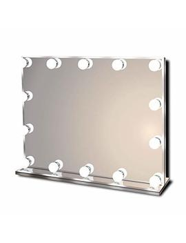 Hollywood Lighted Vanity Makeup Mirror With Bright Led Lights, Light Up Frameless Dressing Table Cosmetic Mirror With 14 Dimmable Bulbs, Multiple Color Modes, Table Top Or Wall Mount, Large by Waneway