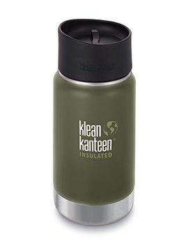 Klean Kanteen 12oz Wide Mouth Stainless Steel Coffee Mug With Klean Coat, Double Wall Vacuum Insulated With Leak Proof Café Cap 2.0   Fresh Pine (New 2018) by Klean Kanteen