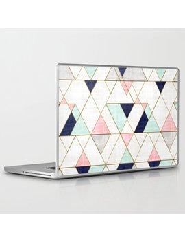 Mod Triangles   Navy Blush Mint Laptop & I Pad Skin by Society6