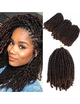 Mirra's Mirror 8inch 3packs Spring Twist Ombre Crochet Hair Curly Synthetic Natural Braids Braiding Hair Kinky Curl Hair Extension (8inch, T1 B/30) by Mirra's Mirror
