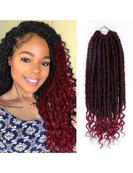 16 Inch Faux Locs Crochet Braids Soft Natural Kanekalon Synthetic Hair Extension 6 Pcs/Lot Goddess Faux Locks With Curly Ends Hair Extension (#1 B/Bug) by Hh Fashion