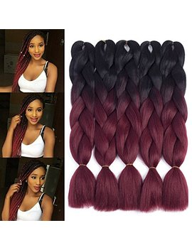"Dingxiu (5 Packs,24"") 2 Tone Jumbo Braid Ombre Braiding Hair X Pression Hair Extensions Afro Box Braids Crochet Hair Synthetic Fiber Hair 100g/Pack(24... by Dingxiu"