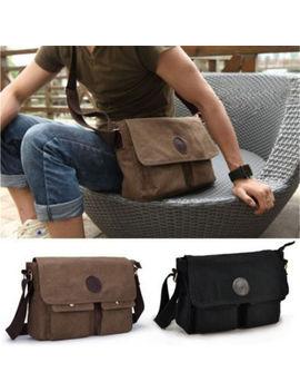 Vintage Mens Canvas Messenger Shoulder Bag Military Crossbody Sports Bag Satchel by Unbranded