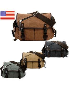 Men's Messenger Bag School Shoulder Bag Vintage Crossbody Satchel Canvas Leather by Unbranded