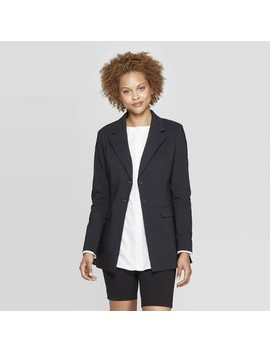 Women's Long Sleeve Button Down Blazer   Prologue Black by Down Blazer