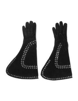 Eyelet Embellished Suede Gloves by Alexander Mcqueen