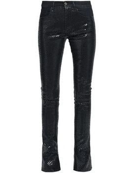 Snake Print High Rise Flared Jeans by Roberto Cavalli