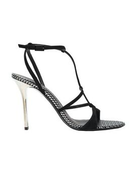 Arbento Metallic Leather Trimmed Suede Sandals by Emporio Armani