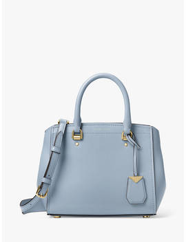Michael Michael Kors Benning Leather Medium Satchel Bag, Pale Blue by Michael Kors