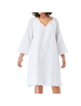 Roaman's Plus Size Embroidered Hem Dress With A Line Silhouette by Roaman's